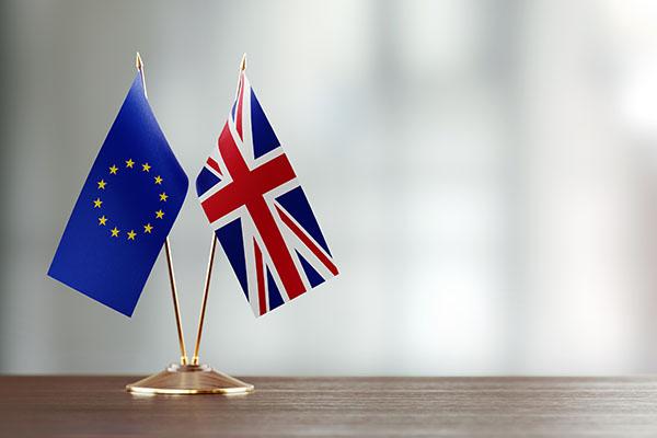 European Union and British flag pair