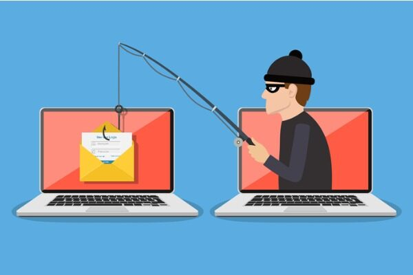 An illustration of a hacker with a fishing rod, jumping out of one computer and 'phishing' an email out of another computer.